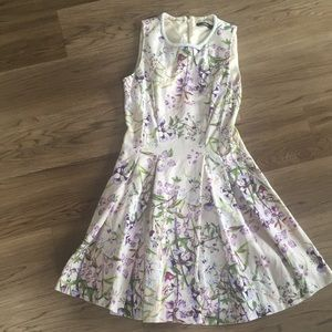 Fit and flair pleated floral dress